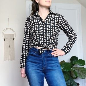 CAbi 100% Silk Button Up Blouse Polka Dot XS